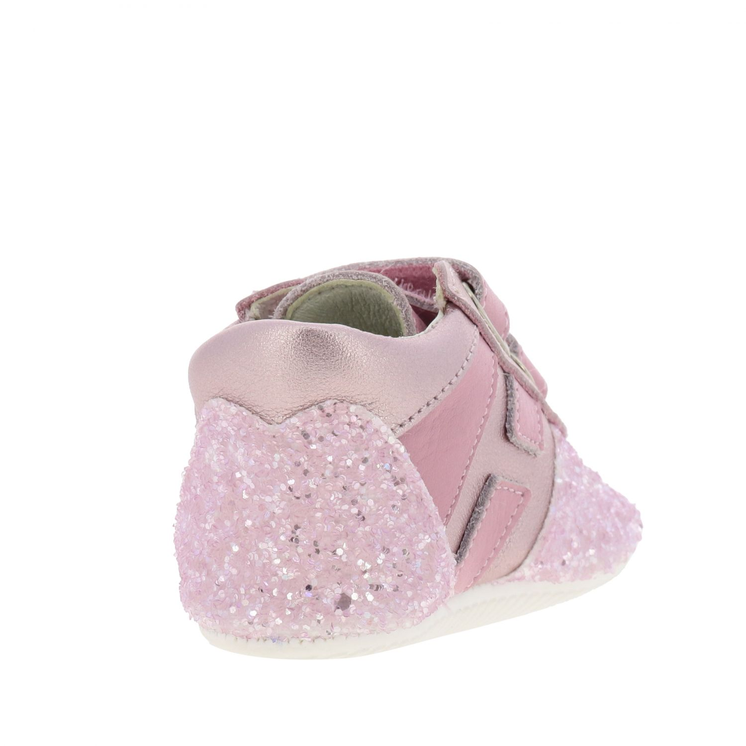 Olympia Hogan laminated leather and glitter sneakers with Velcro straps pink 5