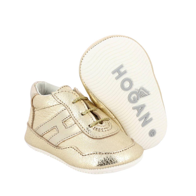Sneakers Olympia Hogan in pelle laminata oro 2