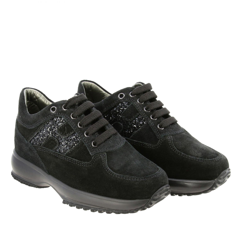 Hogan Interactive Sneakers aus Wildleder mit Glitzer H Logo schwarz 2