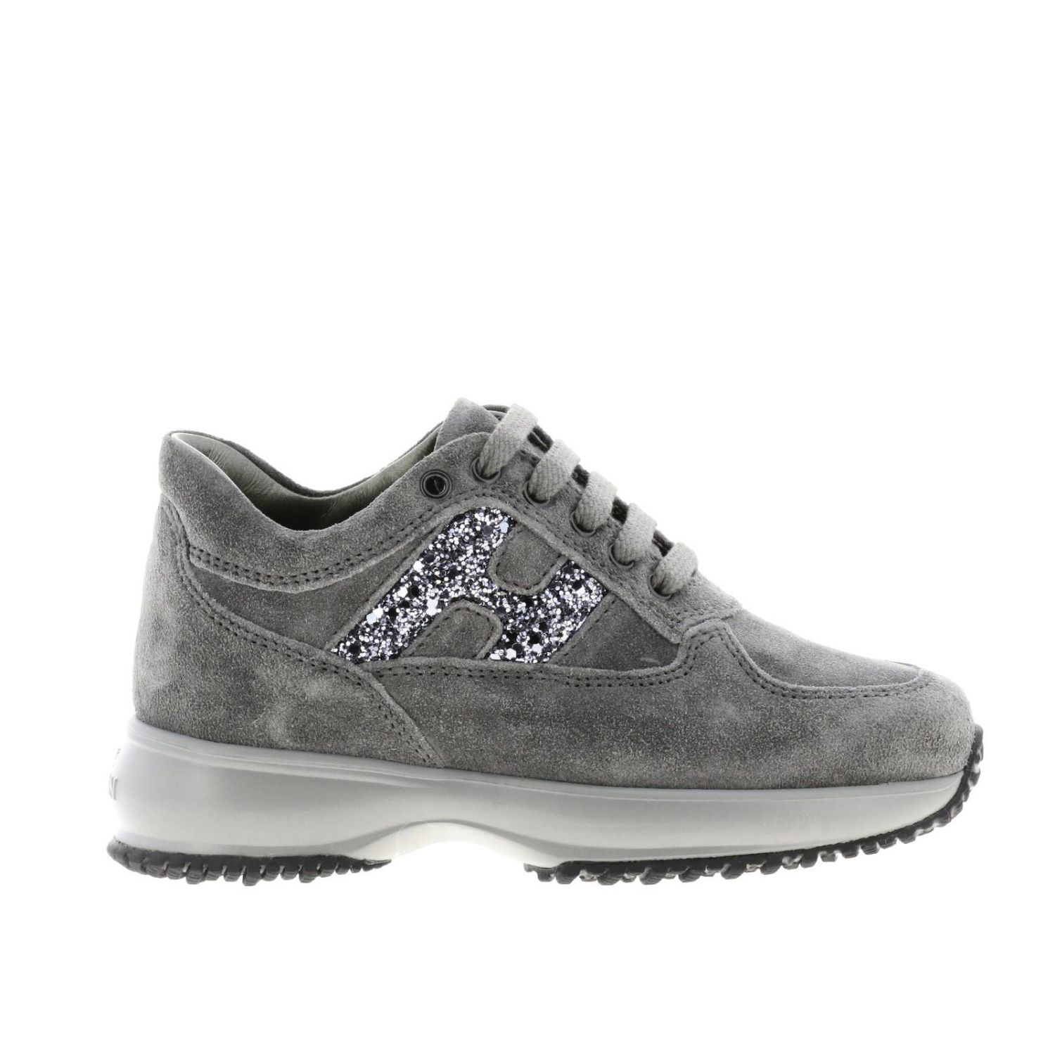 Hogan Interactive suede sneakers with H glitter lead 1