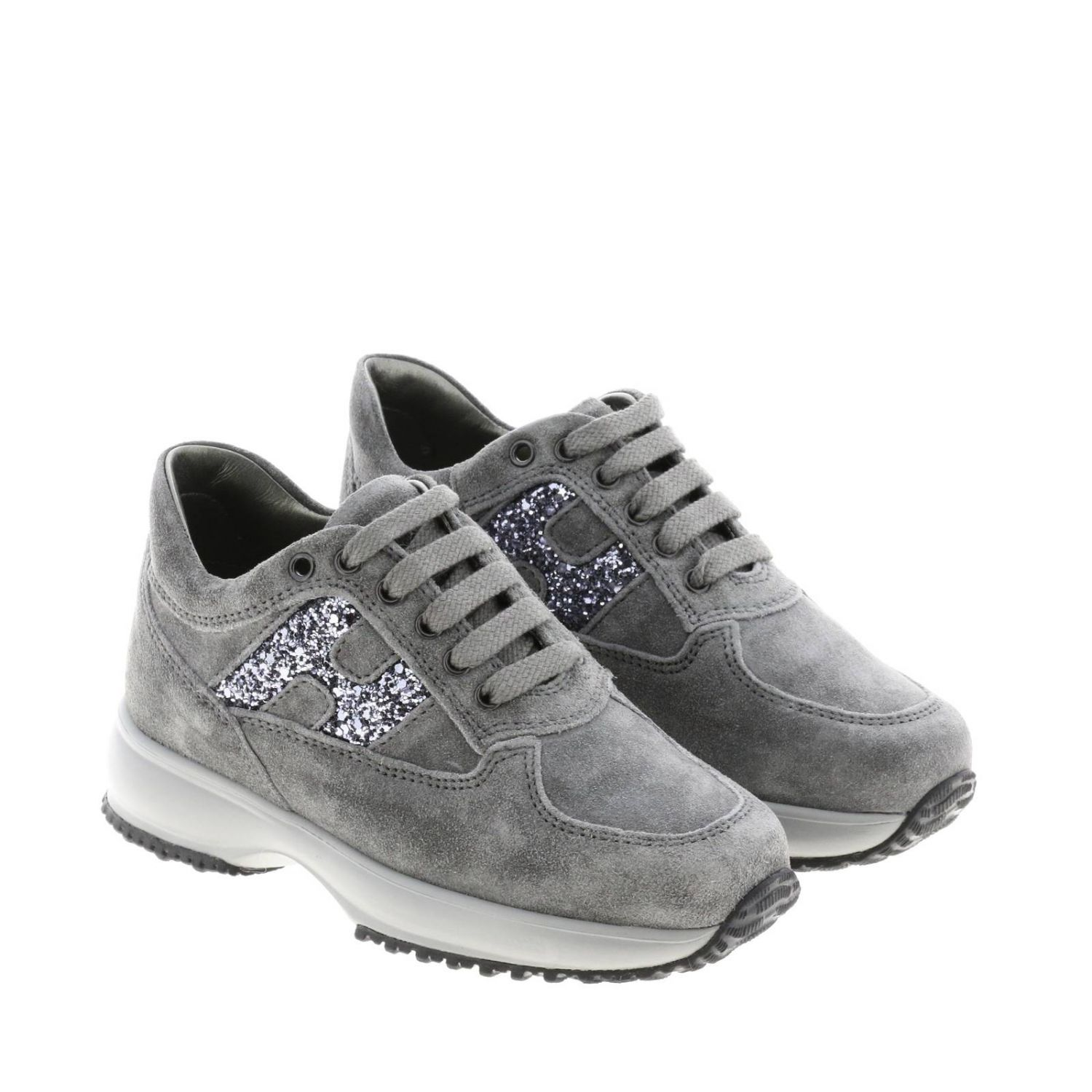 Hogan Interactive suede sneakers with H glitter lead 2