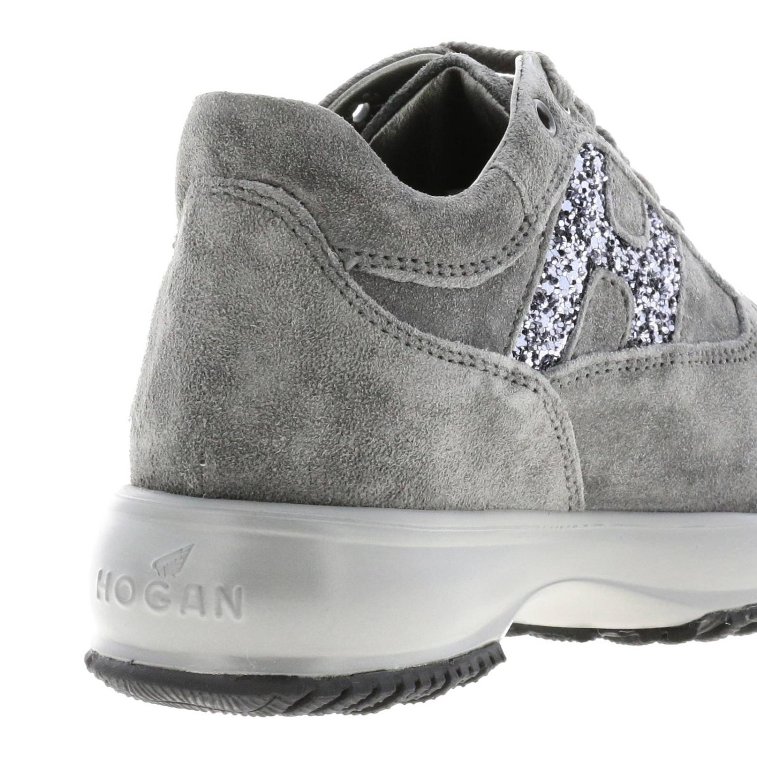 Hogan Interactive suede sneakers with H glitter lead 5