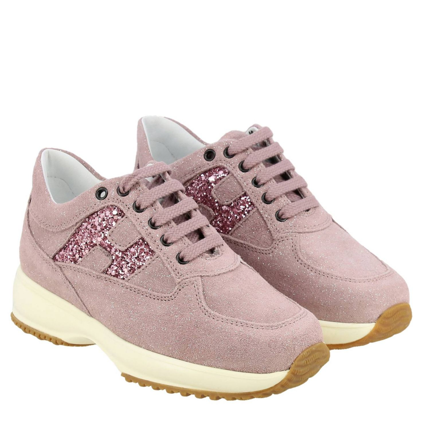 Hogan Interactive sneakers in glitter suede with H glitter