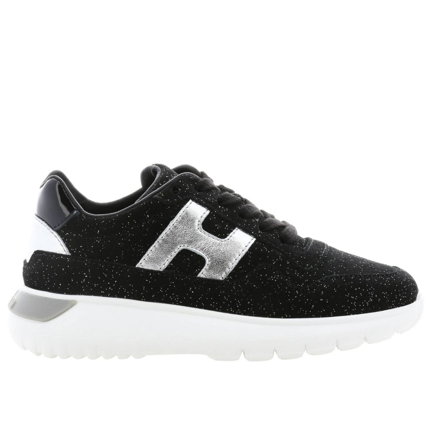 Cube Hogan sneakers in glitter suede with laminated H
