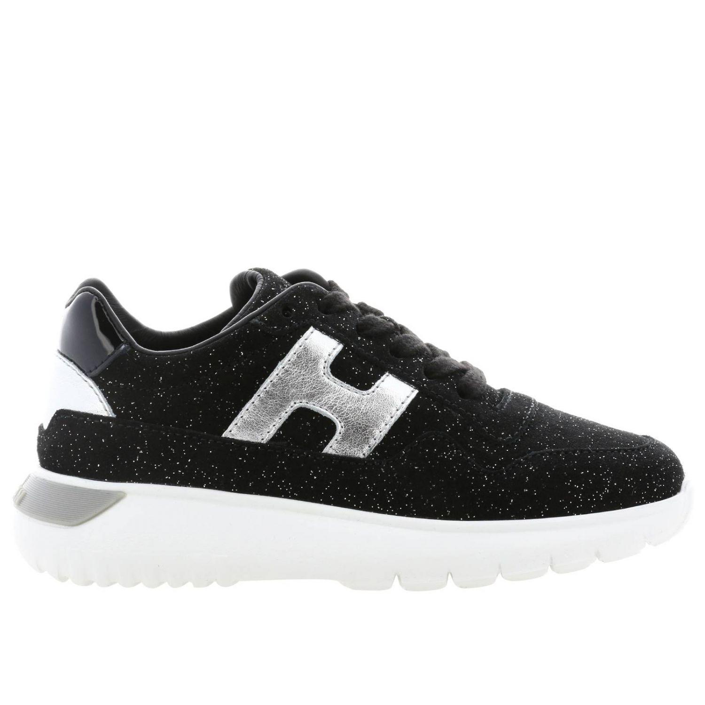 Hogan Cube 绒面革亮片金属感H装饰运动鞋 黑色 1