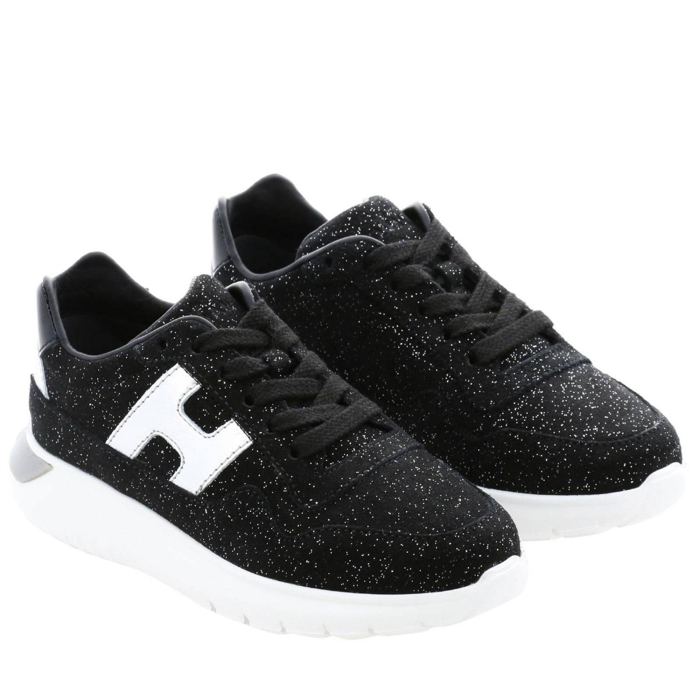 Hogan Cube 绒面革亮片金属感H装饰运动鞋 黑色 2