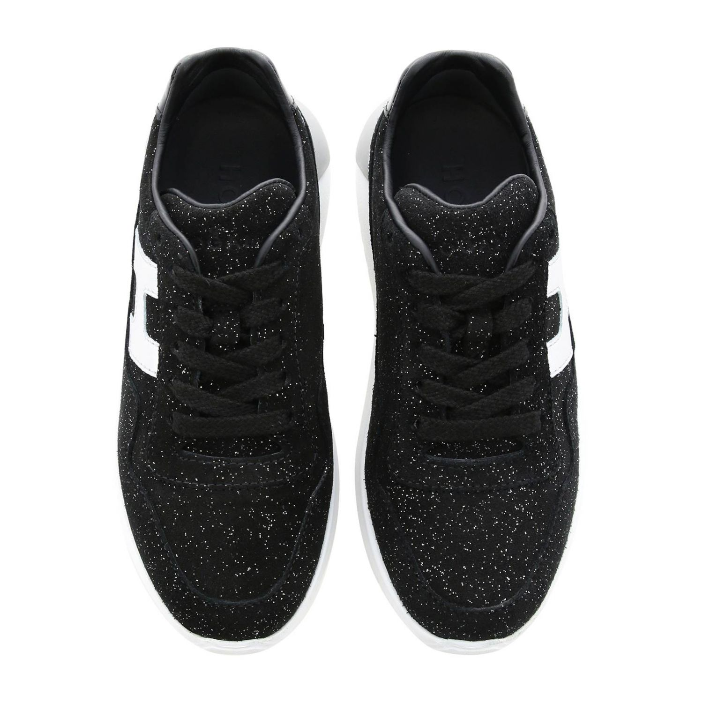 Sneakers Cube Hogan in camoscio glitter con H laminata nero 3