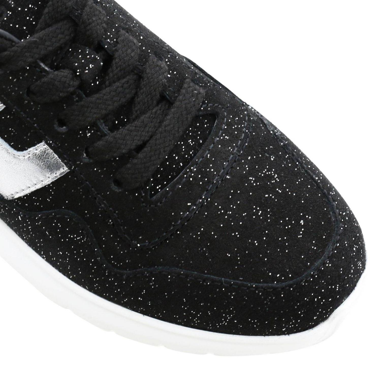 Hogan Cube 绒面革亮片金属感H装饰运动鞋 黑色 4