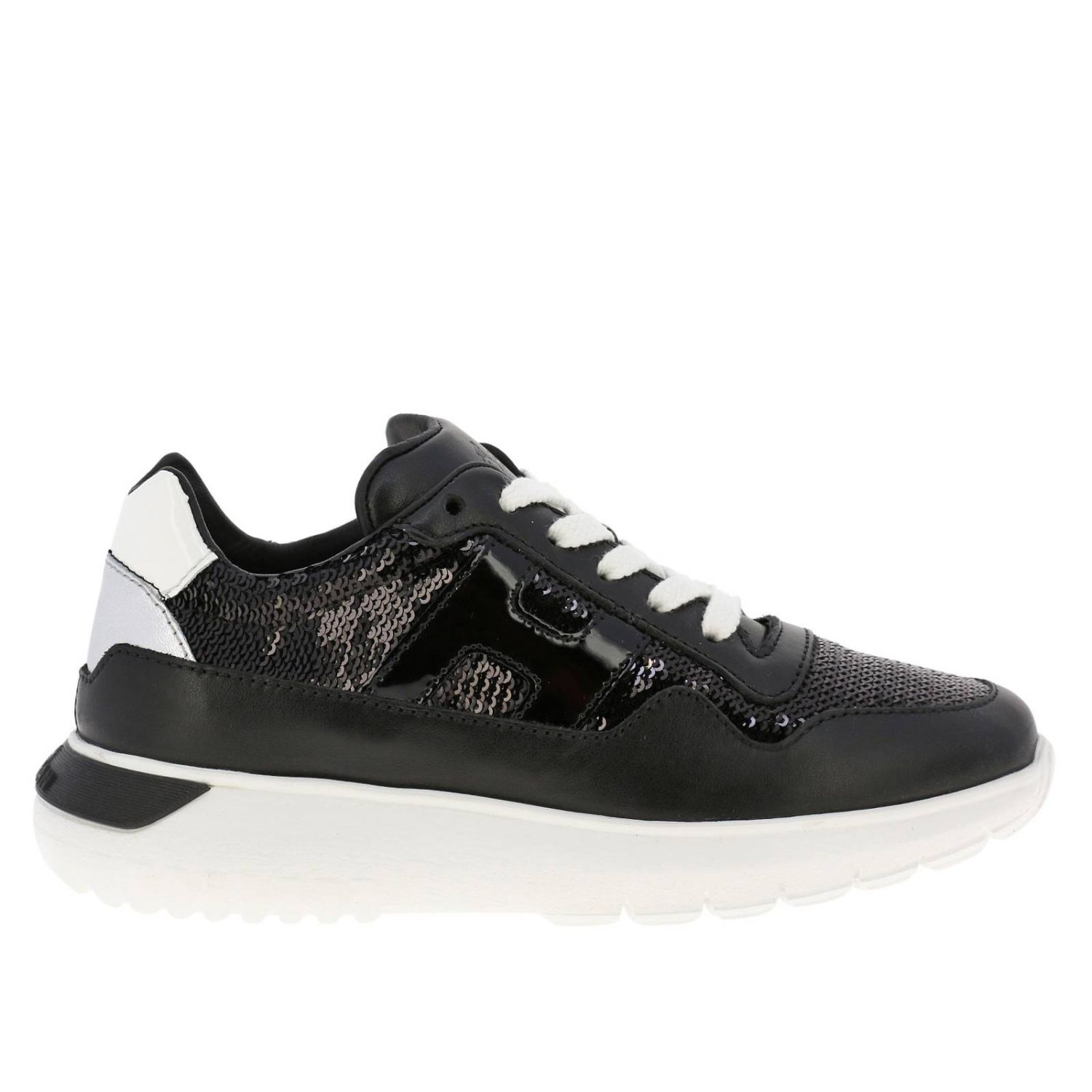 Cube Hogan sneakers in leather and sequins black 1