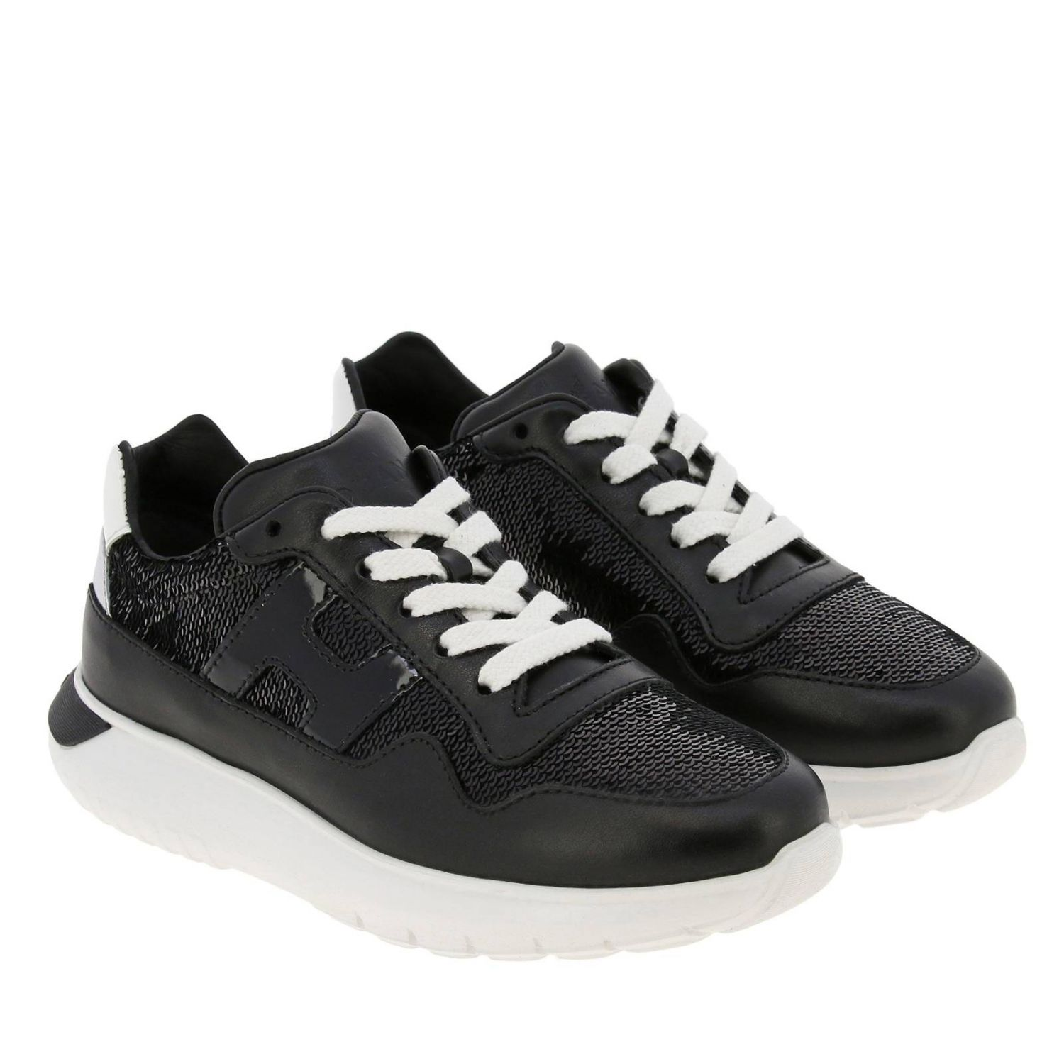 Cube Hogan sneakers in leather and sequins black 2
