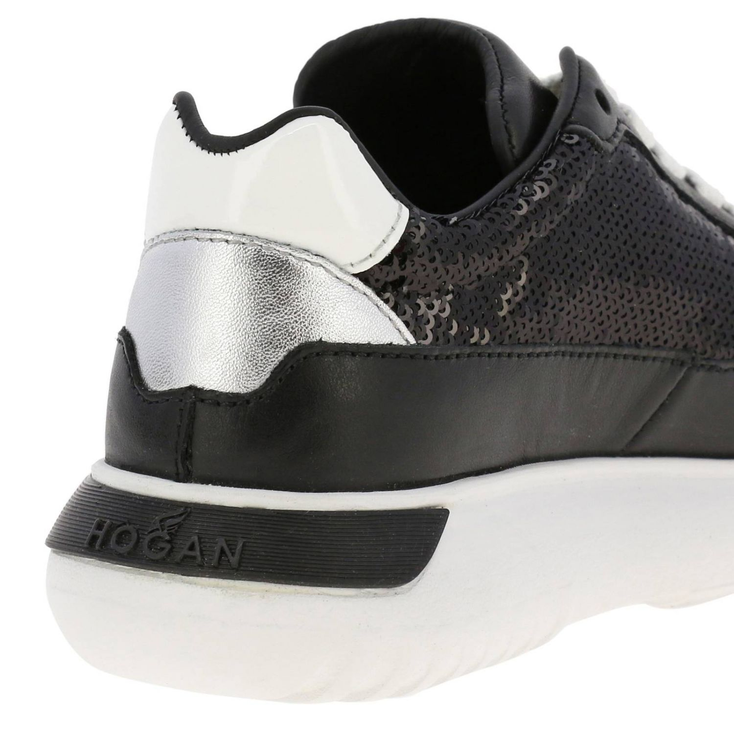 Cube Hogan sneakers in leather and sequins black 4