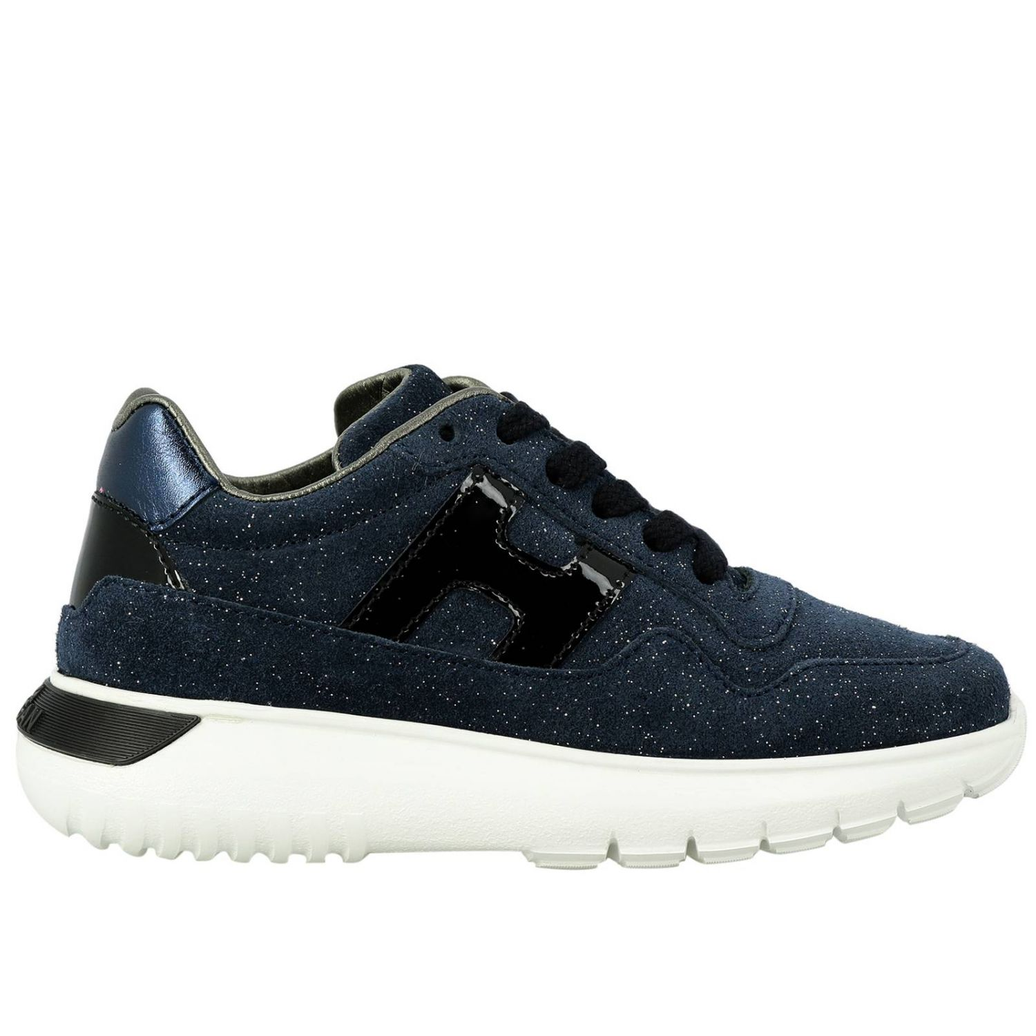 Cube Hogan glitter suede sneakers with patent leather H blue 1