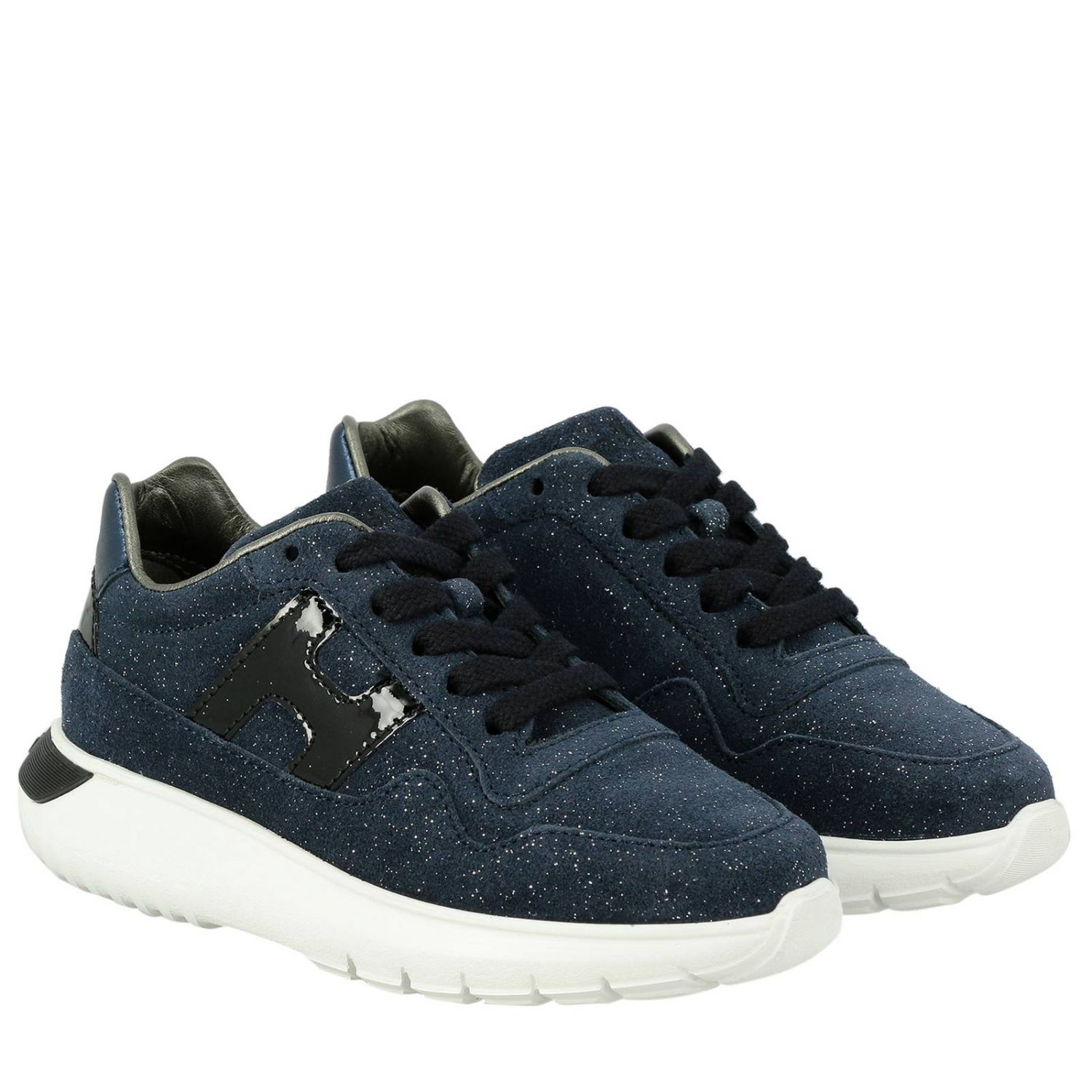 Cube Hogan glitter suede sneakers with patent leather H blue 2