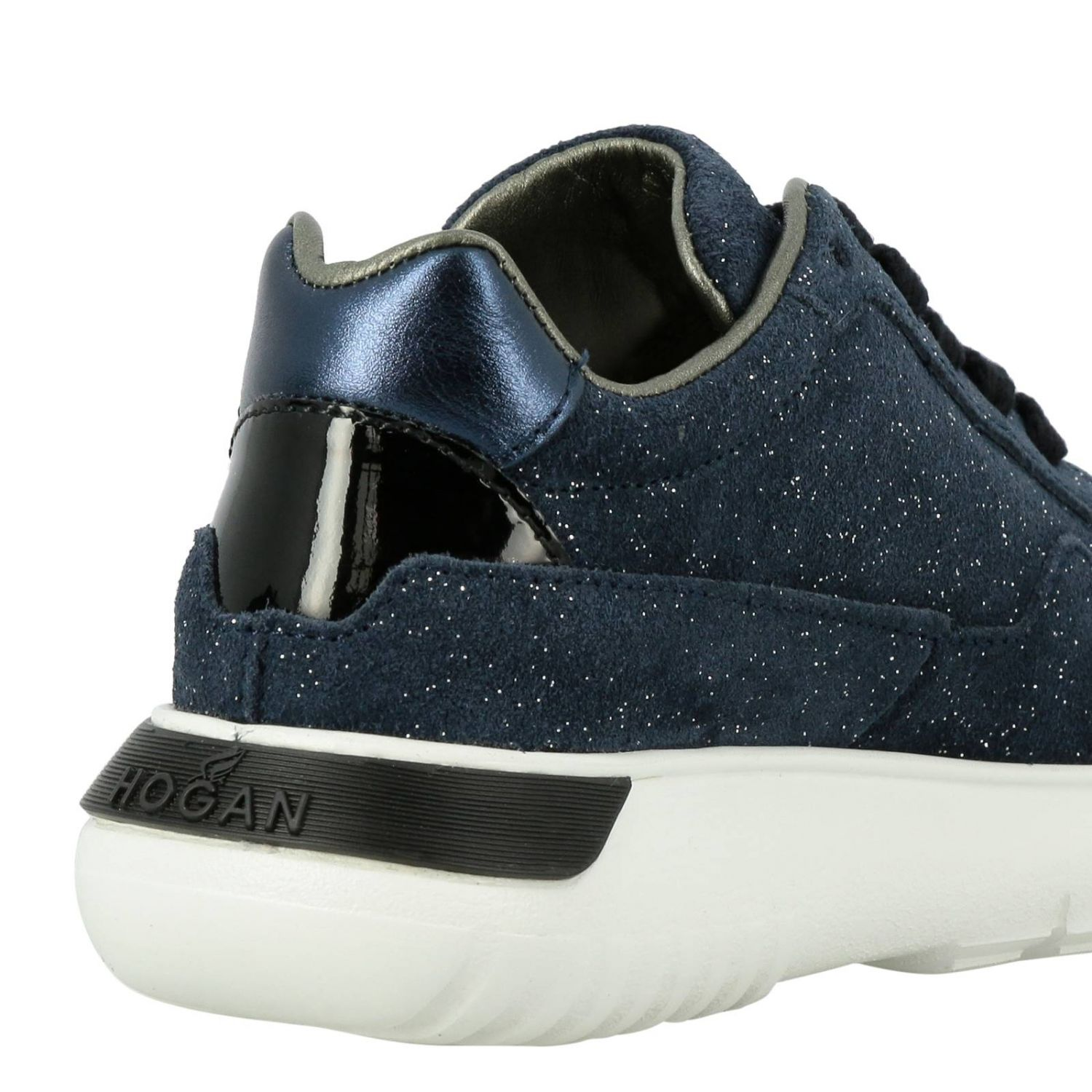 Cube Hogan glitter suede sneakers with patent leather H blue 5