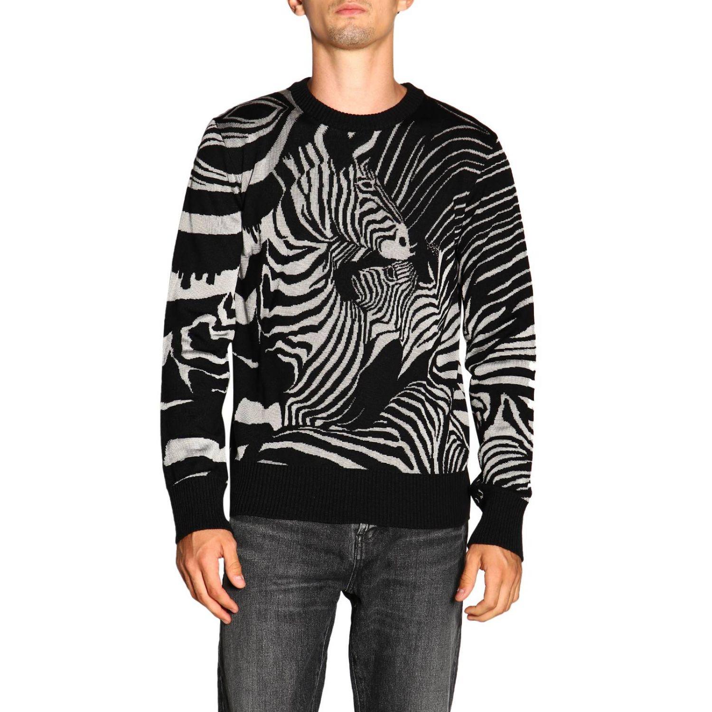Maglia Just Cavalli a girocollo in lana zebrata nero 1