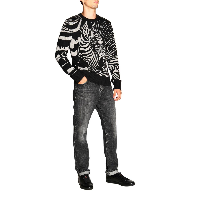 Maglia Just Cavalli a girocollo in lana zebrata nero 2