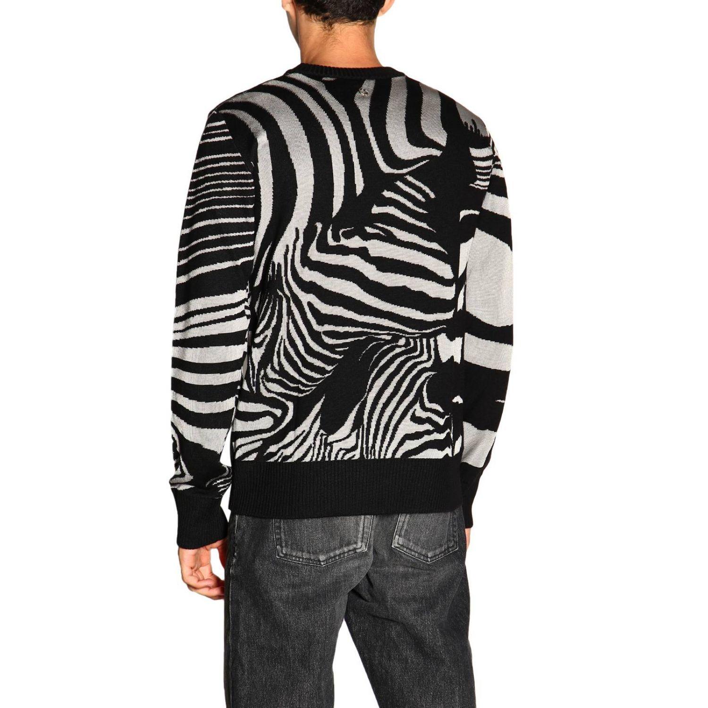 Maglia Just Cavalli a girocollo in lana zebrata nero 3