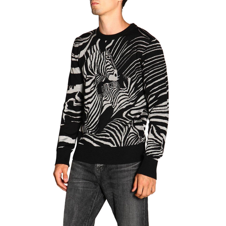 Maglia Just Cavalli a girocollo in lana zebrata nero 4
