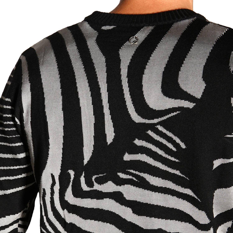 Maglia Just Cavalli a girocollo in lana zebrata nero 5