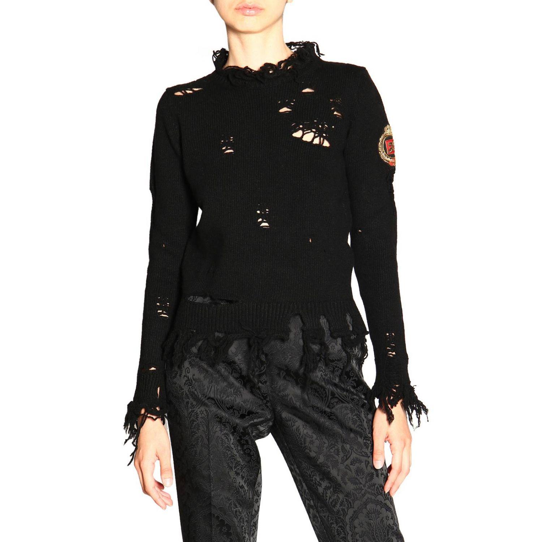 Pullover Etro a girocollo in lana sfrangiata nero 1