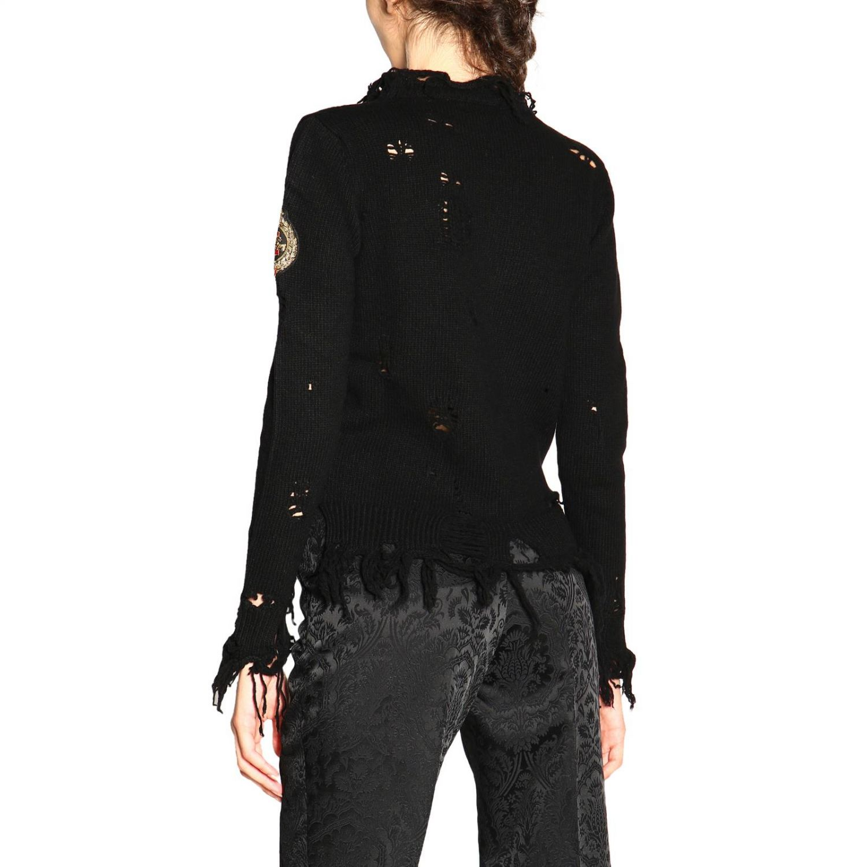 Pullover Etro a girocollo in lana sfrangiata nero 3