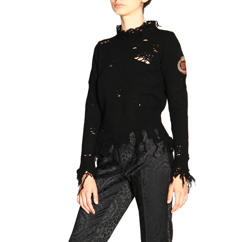 Pullover Etro a girocollo in lana sfrangiata nero 4