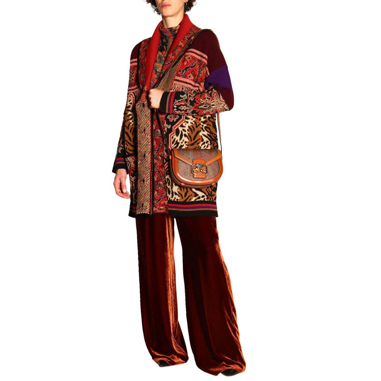 Sac Pegaso Etro en cuir et toile ethnique marron 2