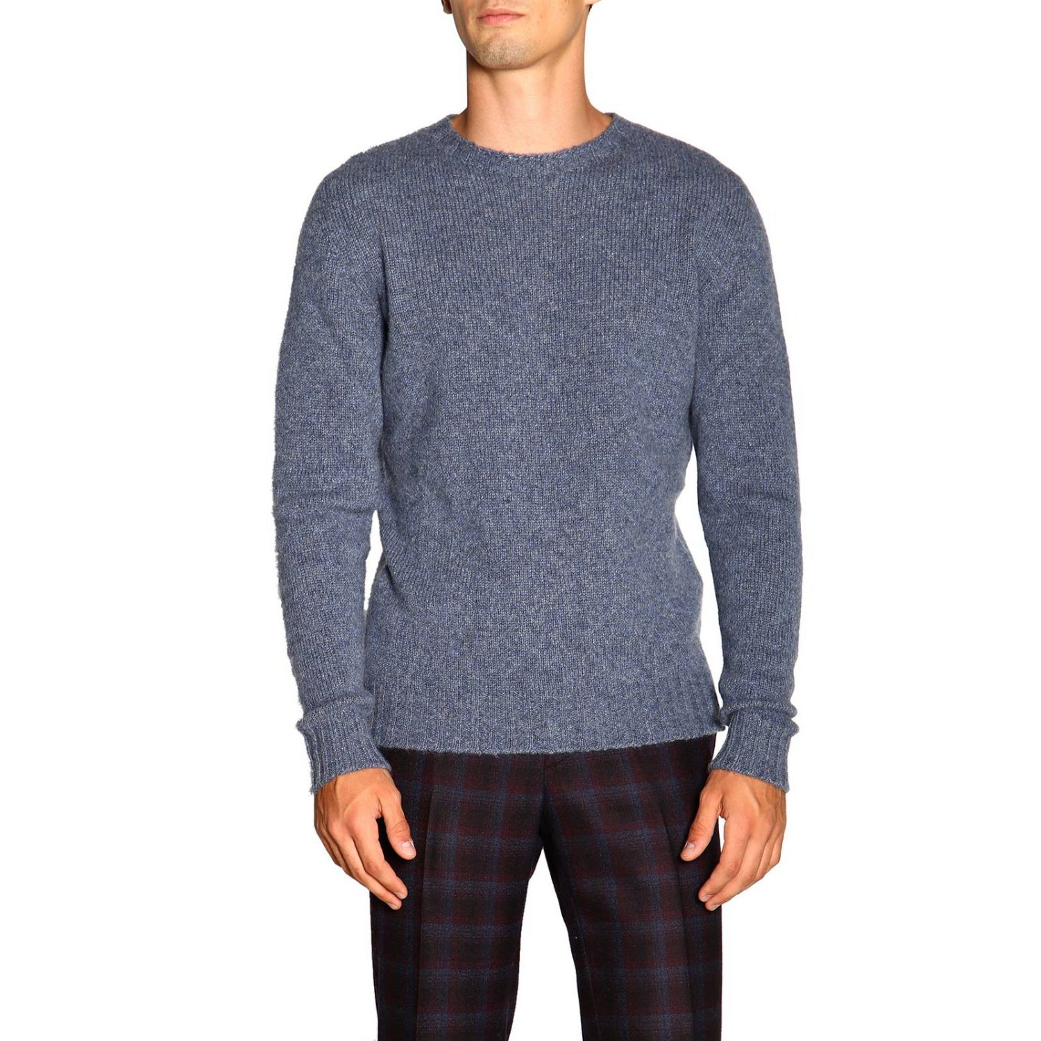 Etro basic sweater with long sleeves in cashmere gnawed blue 1