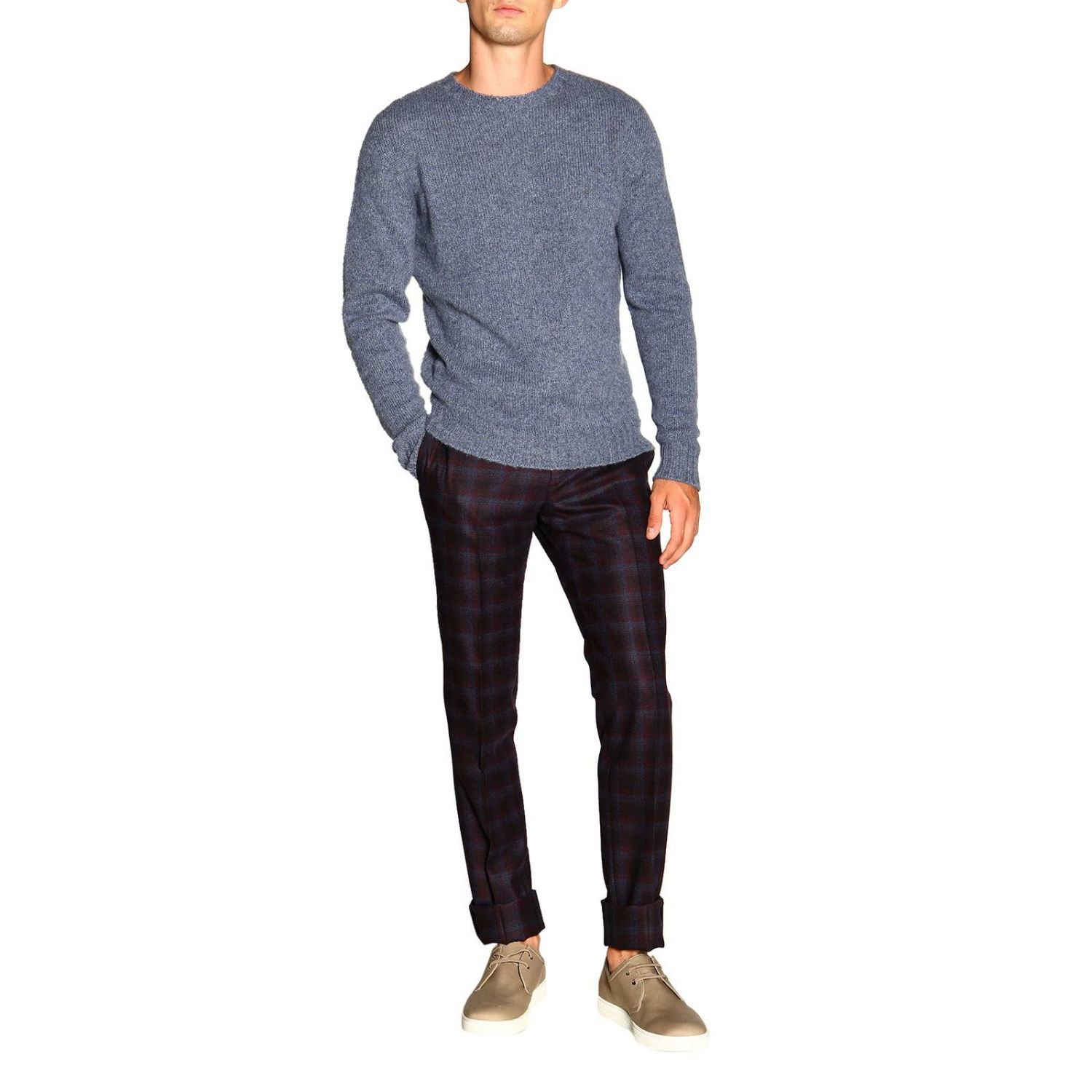 Etro basic sweater with long sleeves in cashmere gnawed blue 2