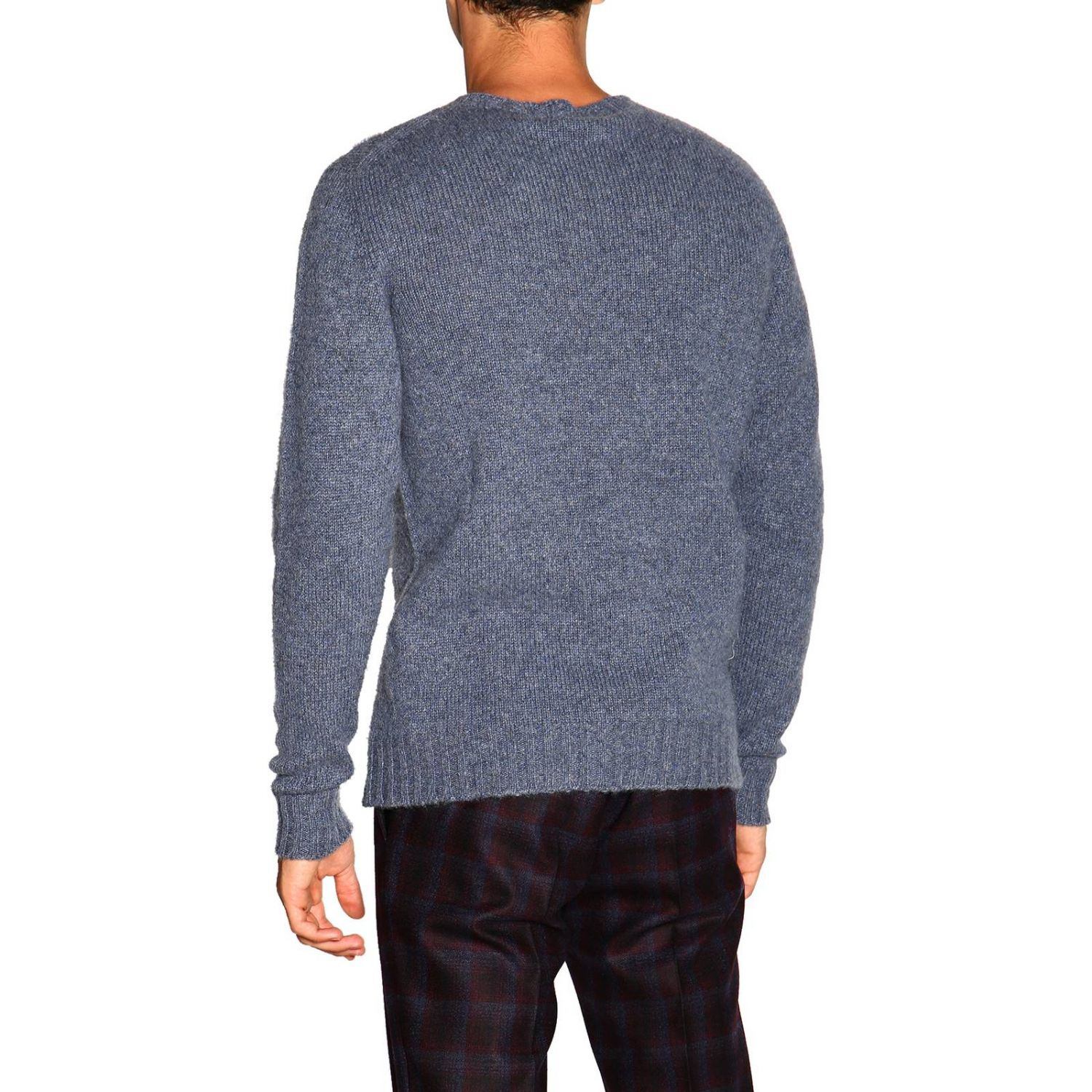 Etro basic sweater with long sleeves in cashmere gnawed blue 3