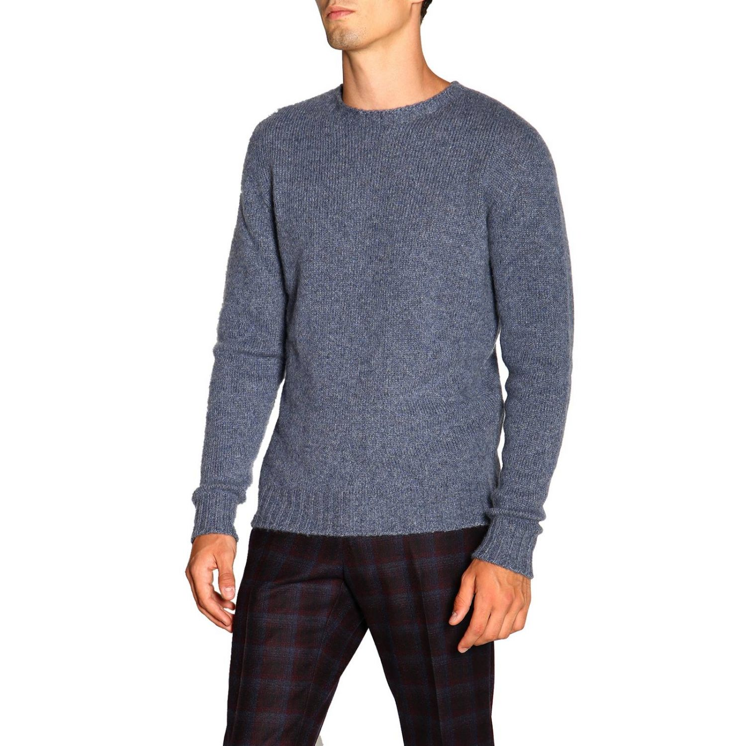 Etro basic sweater with long sleeves in cashmere gnawed blue 4