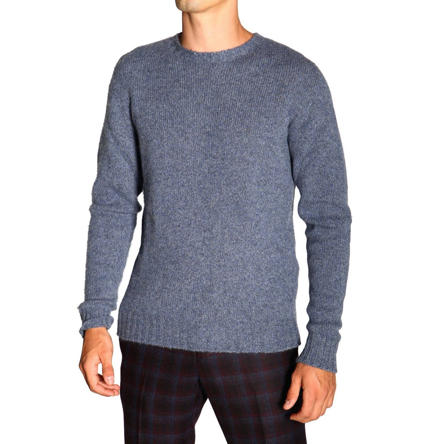 Etro basic sweater with long sleeves in cashmere gnawed blue 5