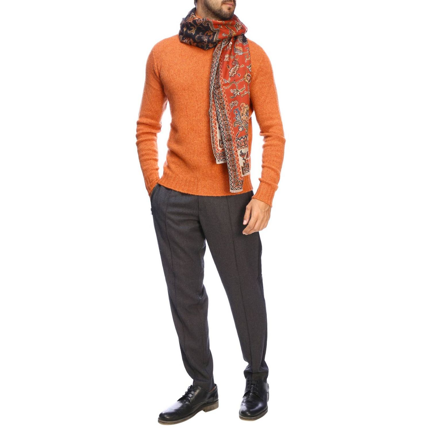 Etro basic turtleneck with long sleeves in cashmere orange 2