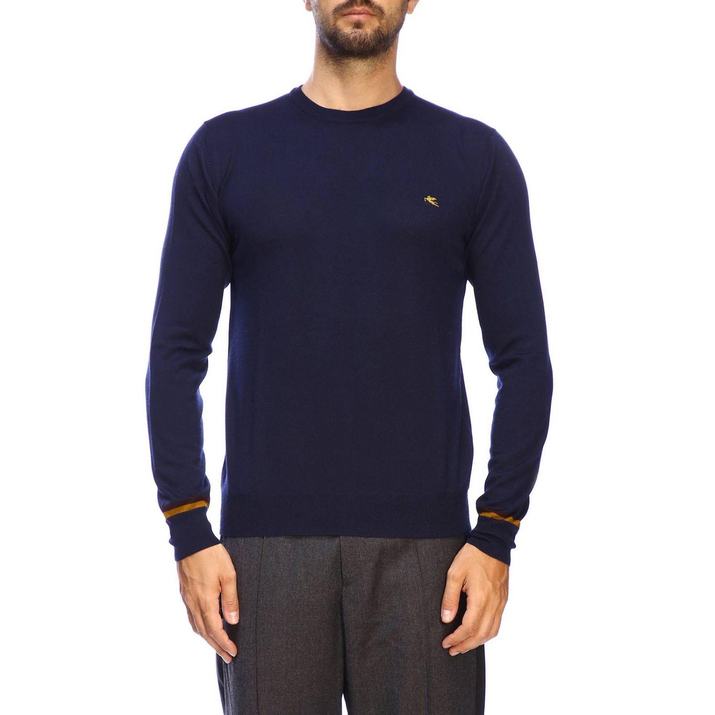 Pull Etro basic à manches longues en lainez bleu 1