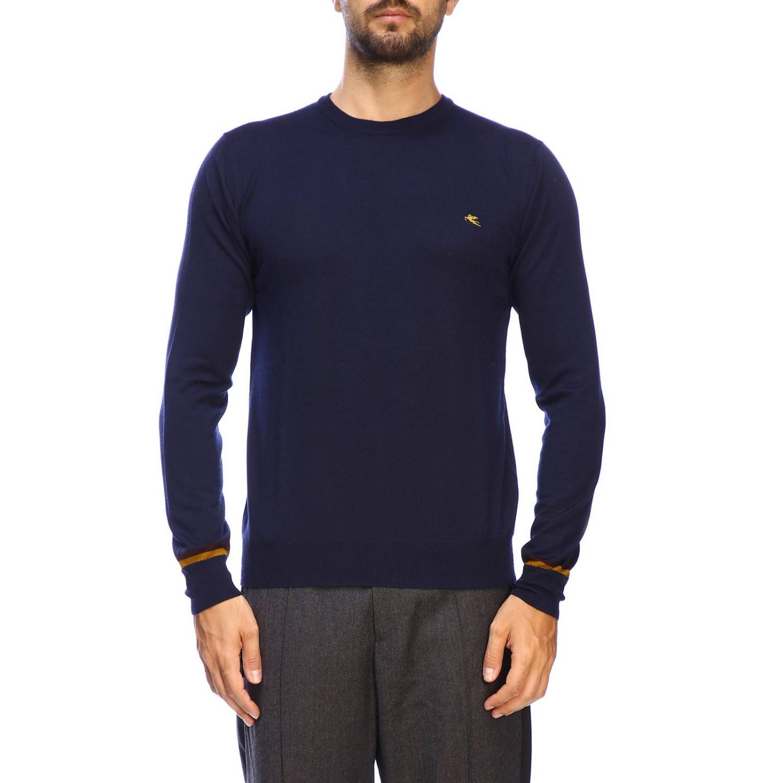 Suéter básico Etro de manga larga de lana azul oscuro 1
