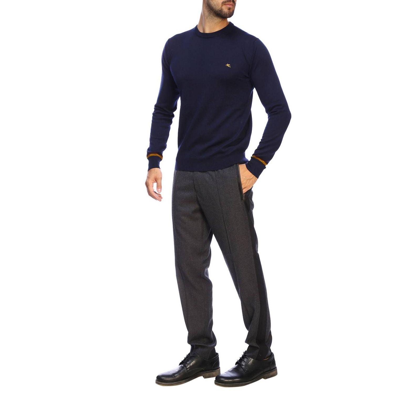 Pull Etro basic à manches longues en lainez bleu 2