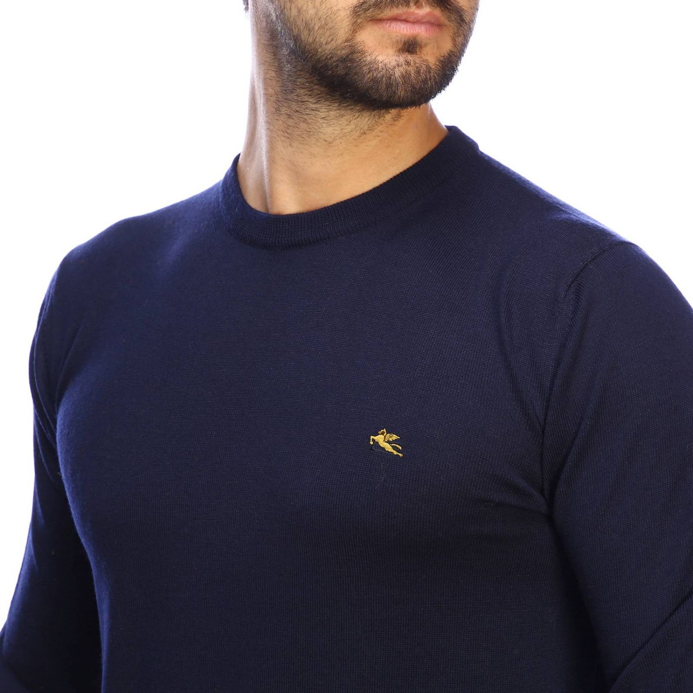 Suéter básico Etro de manga larga de lana azul oscuro 4