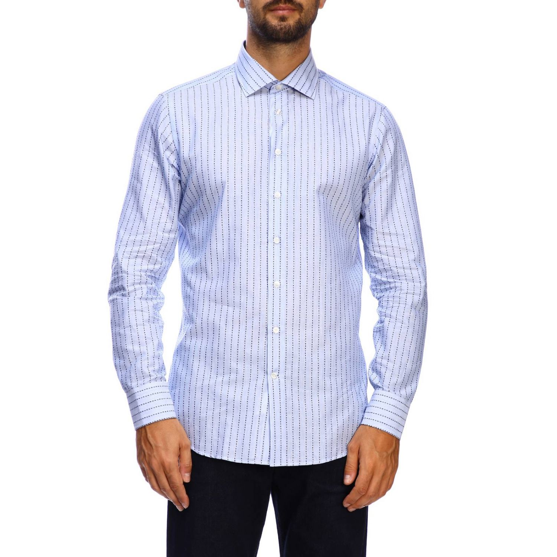 Рубашка Etro из жаккарда в полоску с итальянским воротничком голубой 1