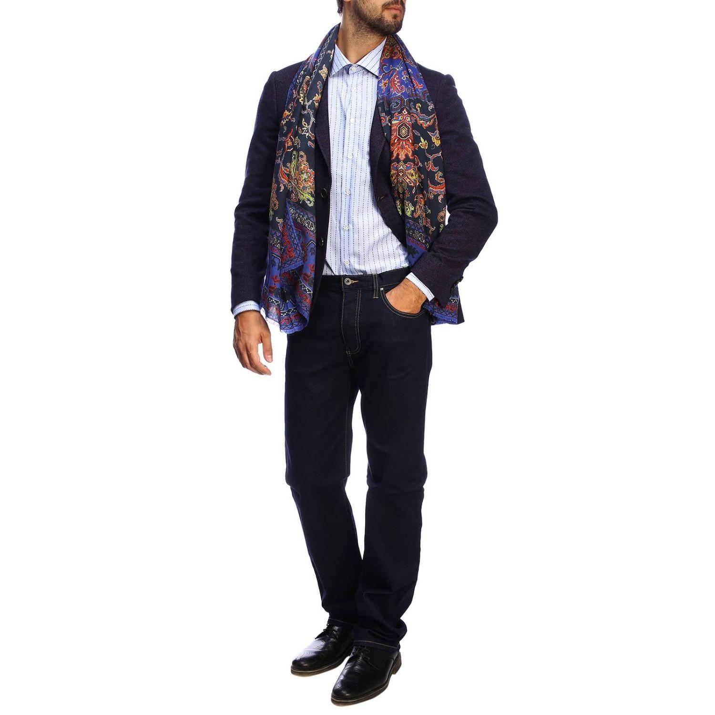 Etro slim shirt in jacquard with Italian collar gnawed blue 2
