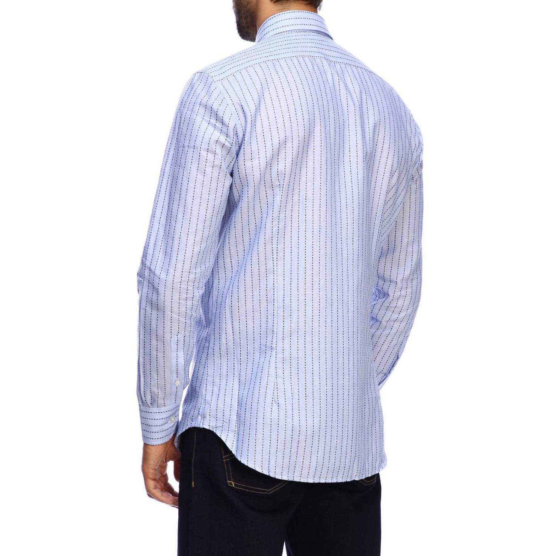 Рубашка Etro из жаккарда в полоску с итальянским воротничком голубой 3