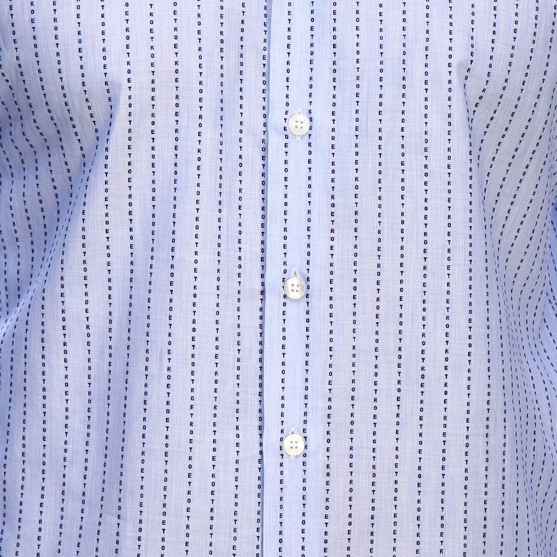 Рубашка Etro из жаккарда в полоску с итальянским воротничком голубой 4