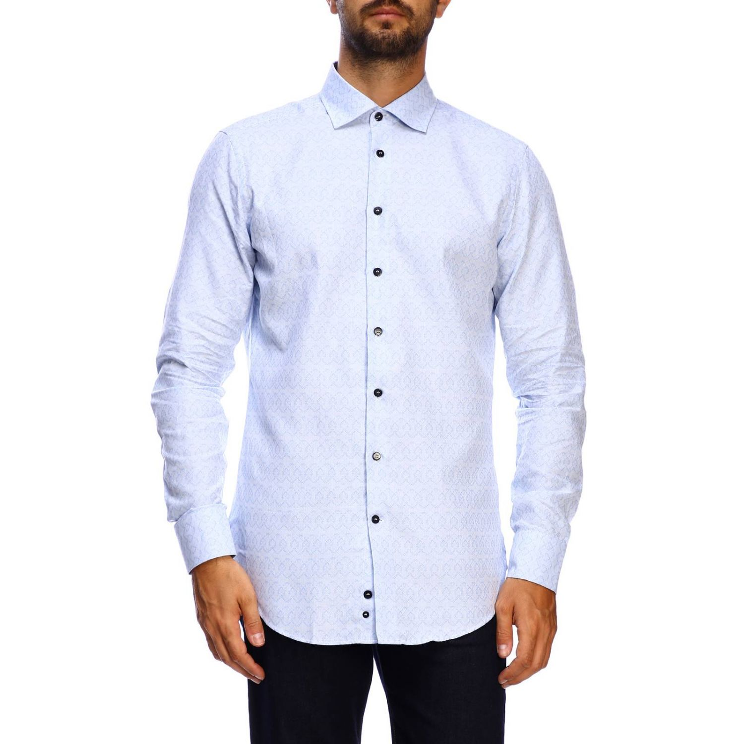 Etro slim micro patterned jacquard shirt with Italian collar gnawed blue 1
