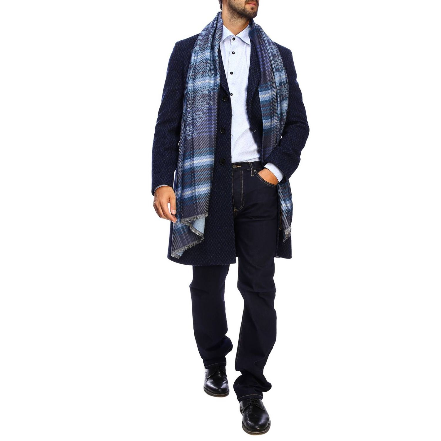 Etro slim micro patterned jacquard shirt with Italian collar gnawed blue 2
