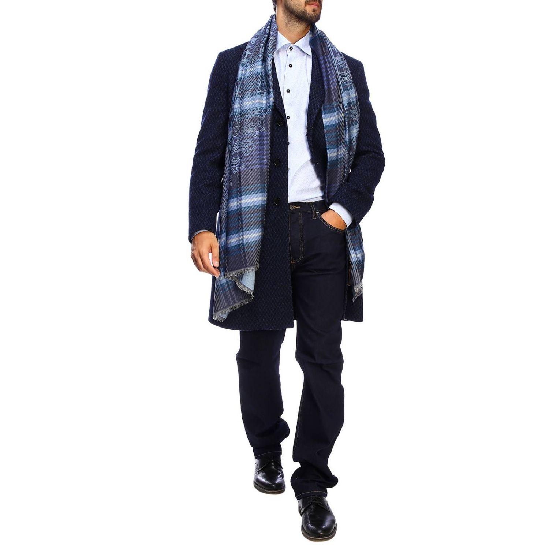 Camisa slim de jacquard con micro estampado Etro y cuello italiano azul claro 2
