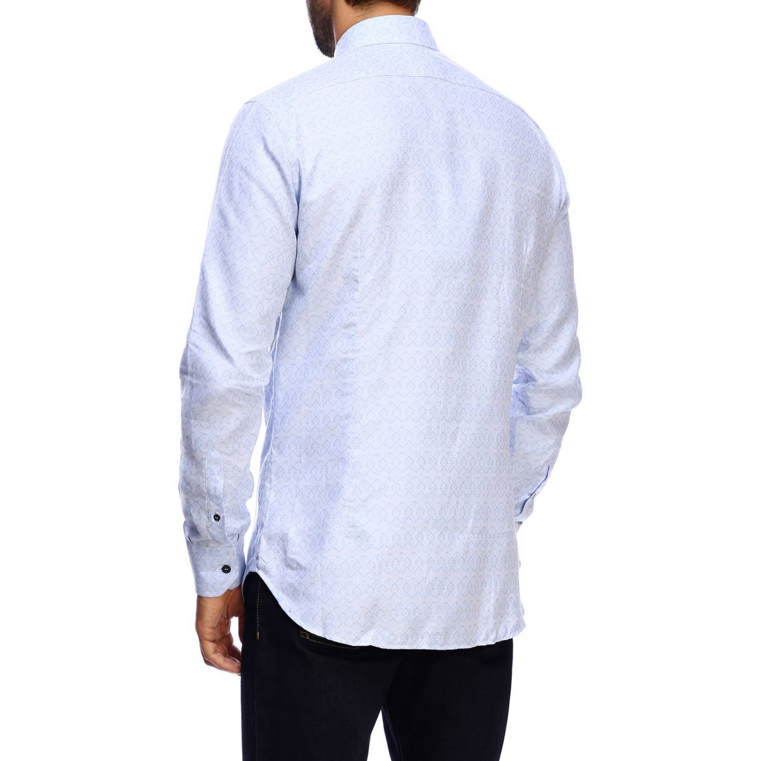 Etro slim micro patterned jacquard shirt with Italian collar gnawed blue 3