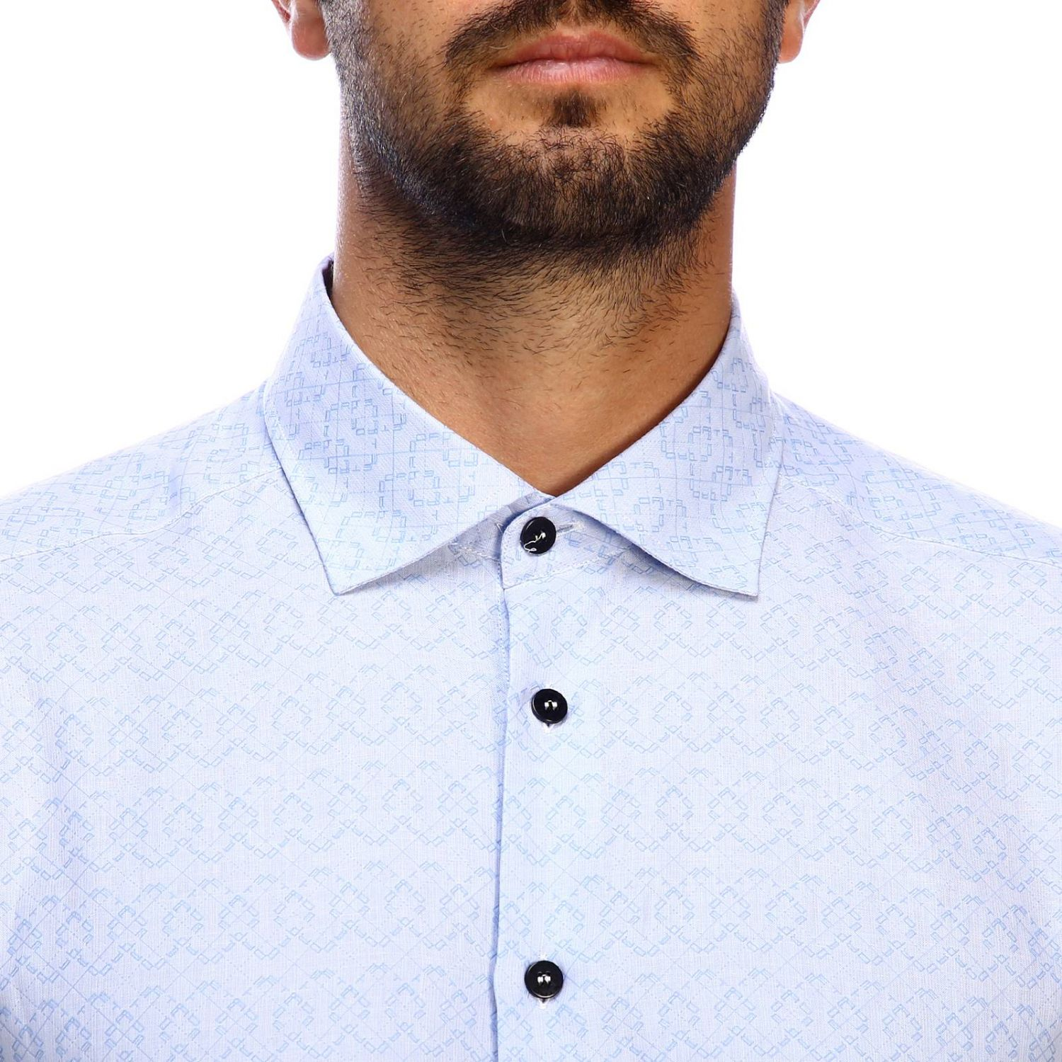 Etro slim micro patterned jacquard shirt with Italian collar gnawed blue 4
