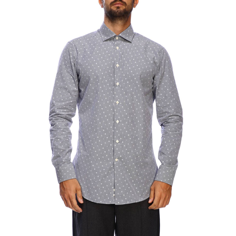 Etro slim shirt with vichy pattern and Italian collar blue 1