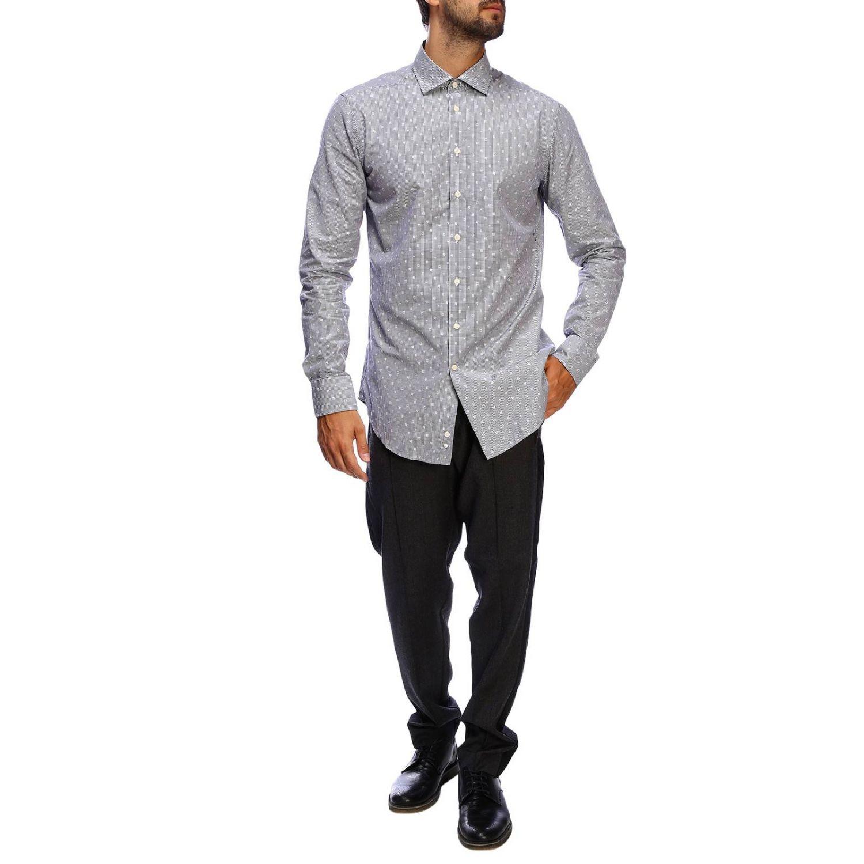 Etro slim shirt with vichy pattern and Italian collar blue 2