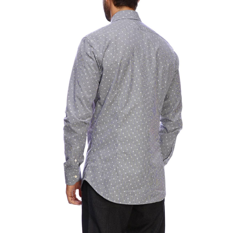 Etro slim shirt with vichy pattern and Italian collar blue 3