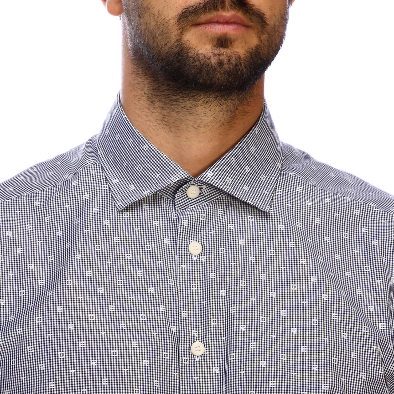 Etro slim shirt with vichy pattern and Italian collar blue 4